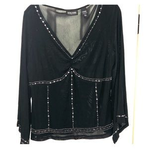 Sexy Black see through blouse with beading